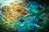modern city diorama and electric circuit board, abstract image visual