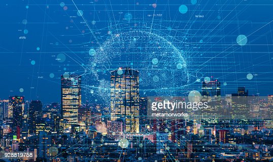 Modern cityscape and communication network concept. : Foto de stock