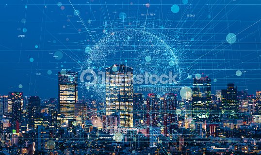 Modern cityscape and communication network concept. : Stock Photo
