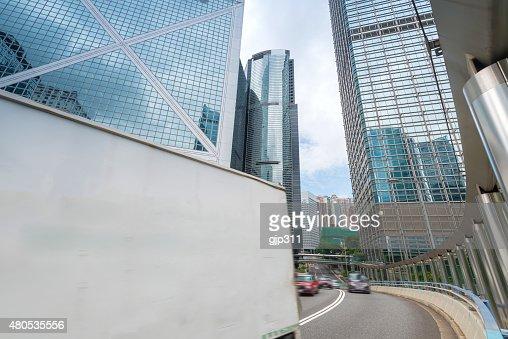 Moderne Stadt und Straße von Hongkong : Stock-Foto