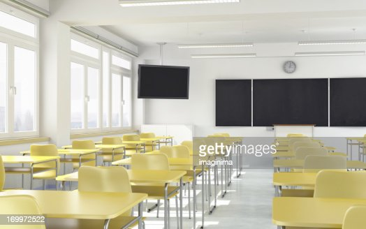 Modern Classroom In The ~ Modern classroom with lcd television stock photo getty