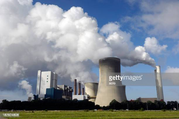 Modern coal burning power plant with pollution