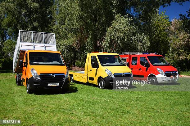Modern commercial vehicles on the grass