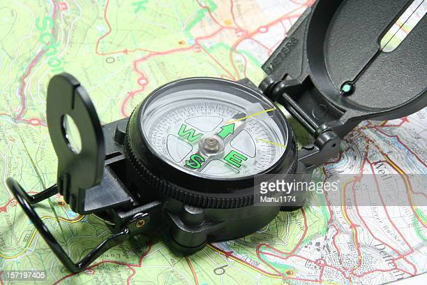 modern compass and map
