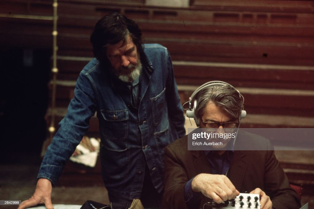 Modern composers John Cage (1912 - 1992) and David Tudor at work in a recording studio, 22nd May 1972.