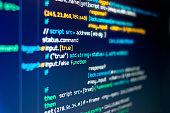 A computer screen showing random scripts and programming code.
