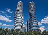 The Absolute World condominium Towers in the city center of Mississauga Ontario on a sunny afternoon. The hourglass shaped tower has been nicknamed the Marilyn Monroe tower due to the curvy shape.