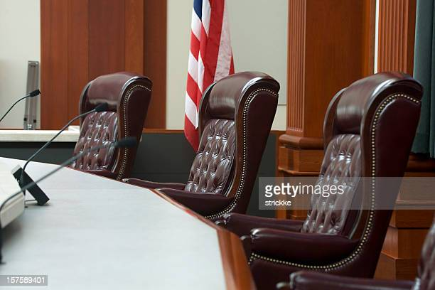 Modern Courtroom Judges' Seats at Bench in Medium Wide Angle