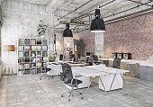 modern  loft office . 3d rendering concept