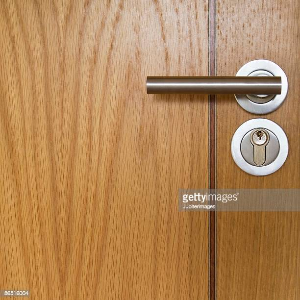 Modern design handle on wooden door