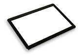 Mock-up with a modern black silver digital tablet in perspective isolated on a white background
