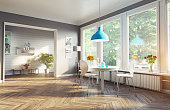 modern dining room. 3d concept