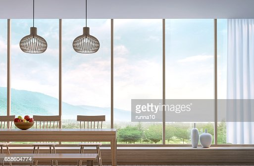 Modern dining room with mountain view 3d rendering : Stock Photo