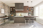 Picture of modern domestic kitchen. Render image.