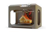 Black plastic 3d printer machine making realistic house model, isolated on white