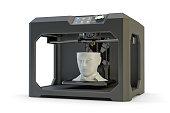 Black plastic 3d printer machine making human head, isolated on white