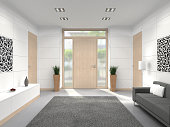 fictitious 3D rendering of a modern lobby interior with wooden front door; the images on the left and on the right were created by me and are part of my istockphoto portfolio