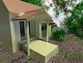 House, Residential Building,  Front or Back Yard, pond,garden,   Building Exterior.this is photo-realism