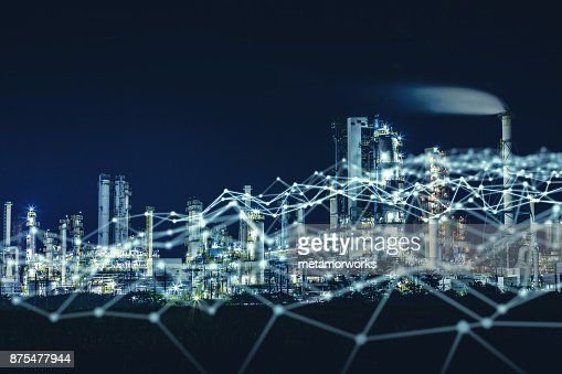 Modern factory and communication network concept. : Foto stock