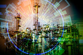 modern factory and electricity abstract, conceptual image visual