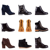 Modern fashionable women and men boots shot in studio, isolated on white. Shoe set
