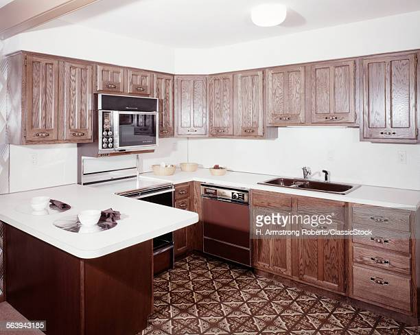 1970s KITCHEN DARK WOODEN...