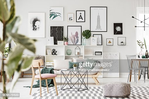 Modern flat interior with posters : Foto de stock