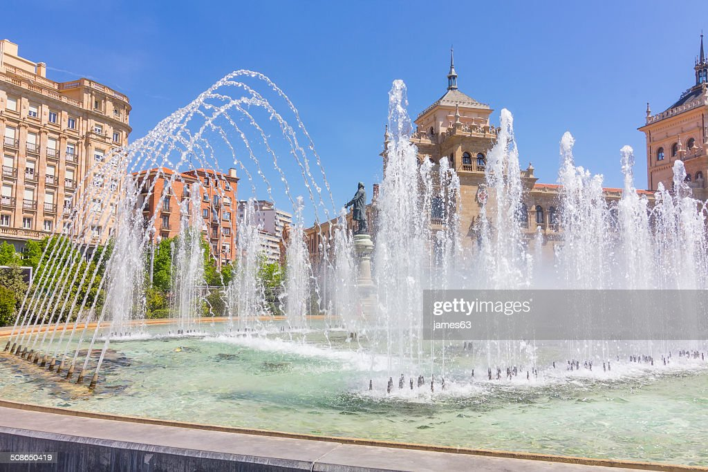 Modern fountain in the square Zorrilla in Valladolid, Spain : Stock Photo