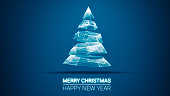 modern future christmas tree and Merry Christmas and Happy New Year greetings message on blue background.Elegant holiday season social digital card for technology, futuristic business.