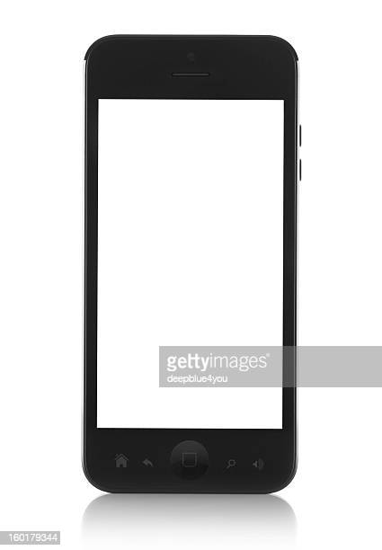 Modern generic black smartphone with white screen