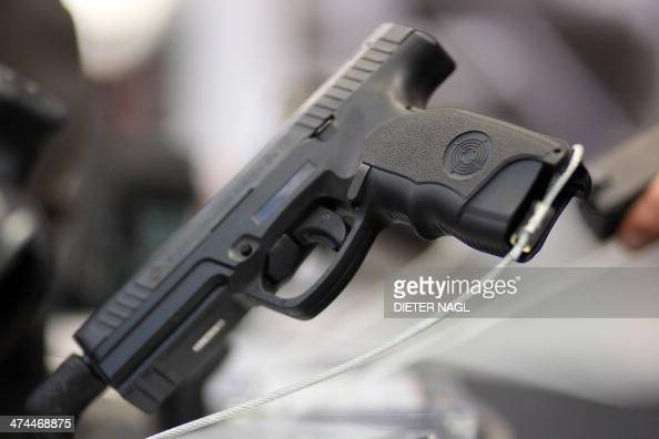 A modern handgun is pictured at the 'Hohe Jagd' hunting fair on February 23 2014 in Salzburg Austria AFP PHOTO / DIETER NAGL