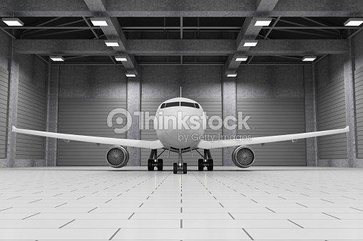 Moderne Hangar Interieur mit modernen Flugzeug innen : Stock-Foto