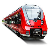 Creative abstract railroad travel and railway tourism transportation industrial concept: red modern high speed passenger commuter train isolated on white background