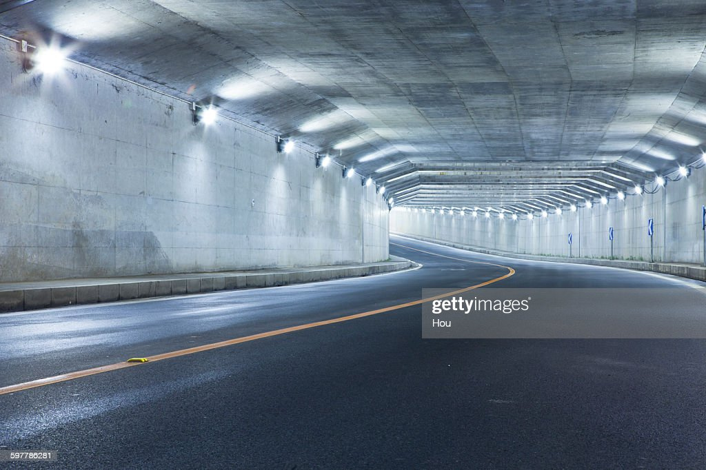 Modern highway tunnel underpass