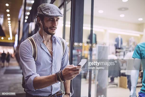 Modern hipster man