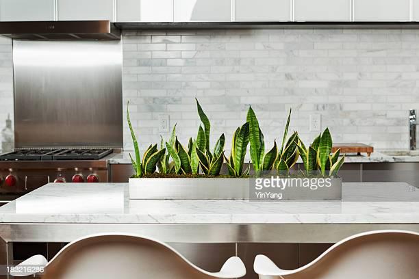 モダンご自宅のキッチンのデザインに、大理石のカウンタートップ、ステンレスの家電製品