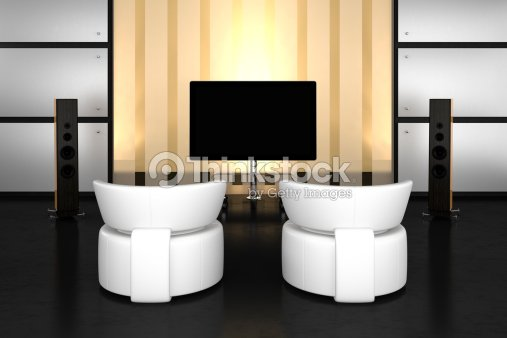 Modern home theater room. : Stock Photo