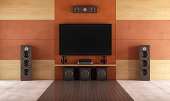 Modern home theater room without furniture - rendering