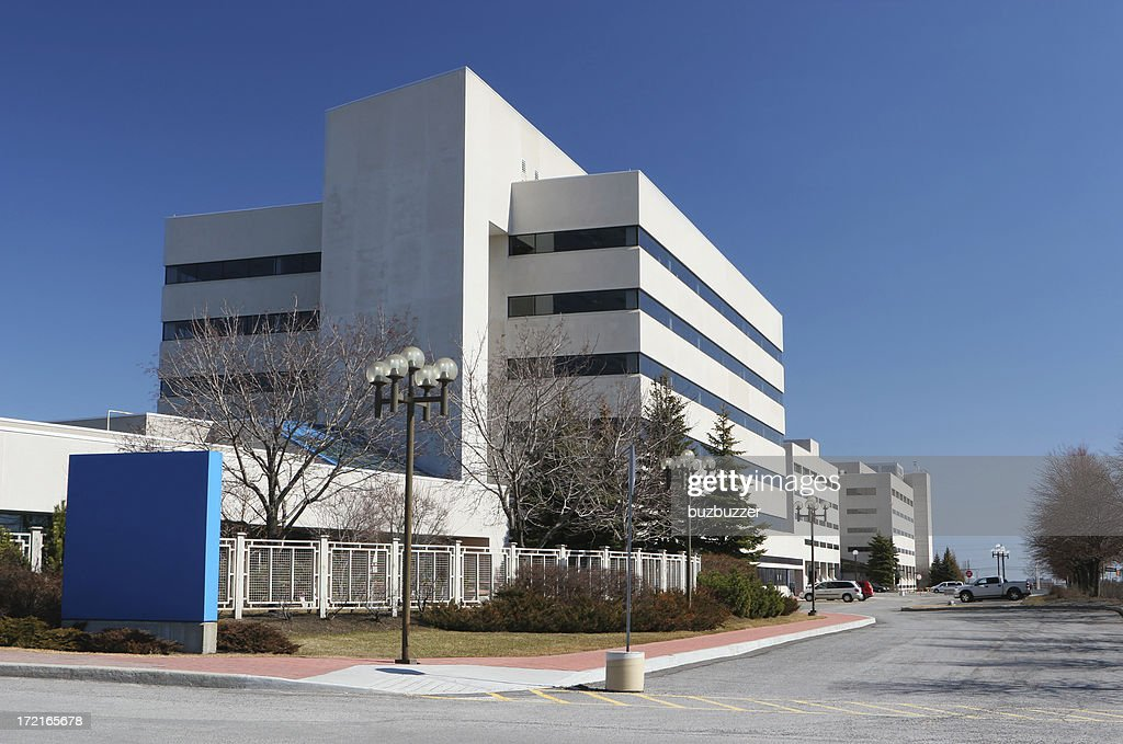 Modern Hospital Building with Sign : Stock Photo