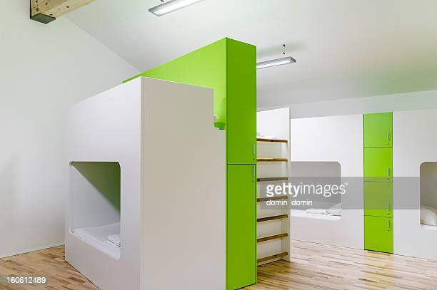 Modern hostel interior, bunk bed in collective room