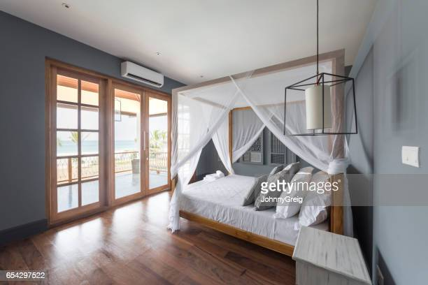 Modern hotel room with wooden floor