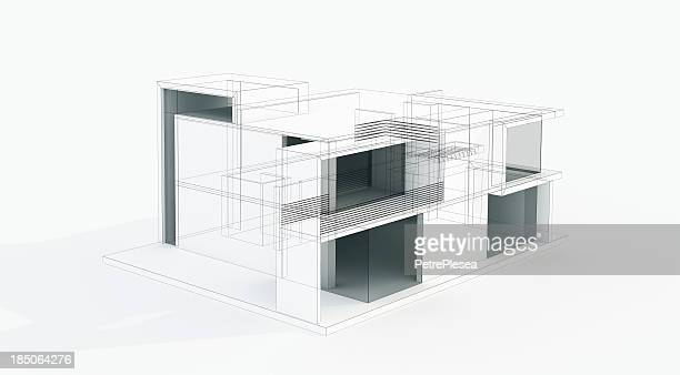 Modern House 3D Model Concept. Wire frame. Rendering.
