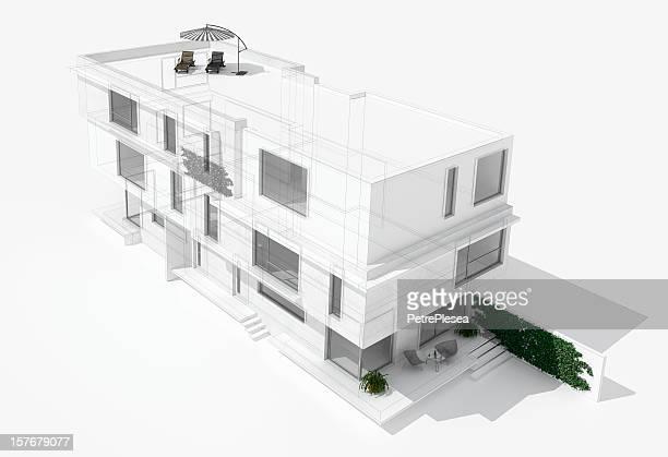 Modern house 3D model render
