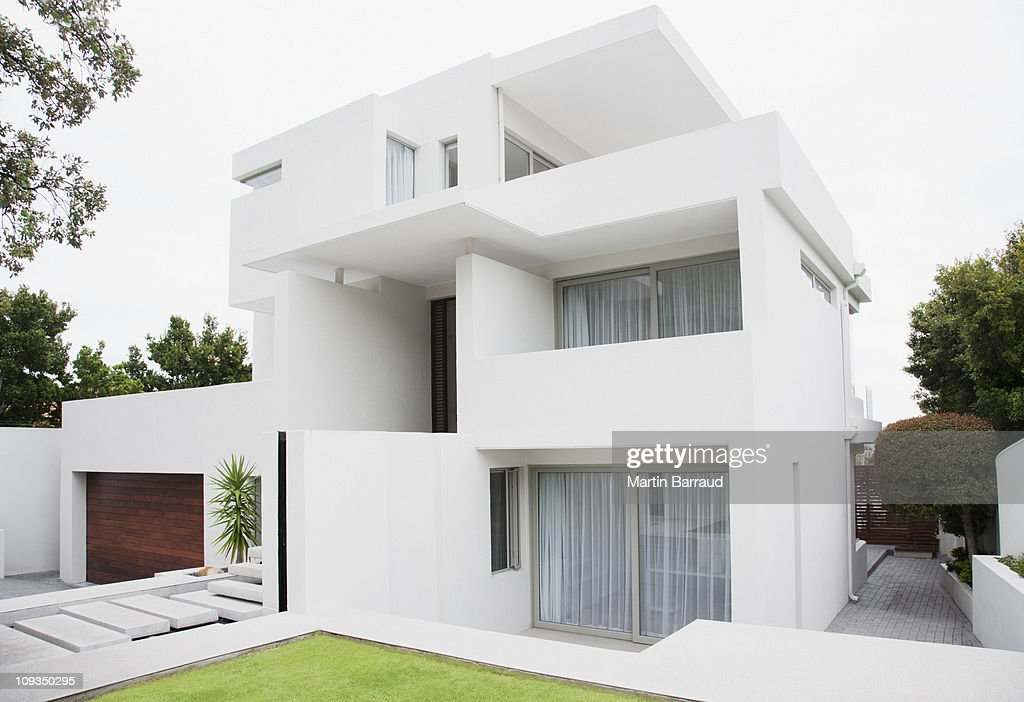Modern house and backyard : Stock Photo