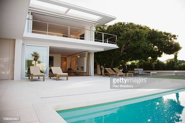Modern house and patio next to swimming pool
