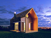 modern house in the night scene