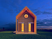 modern house in the night scene rendering