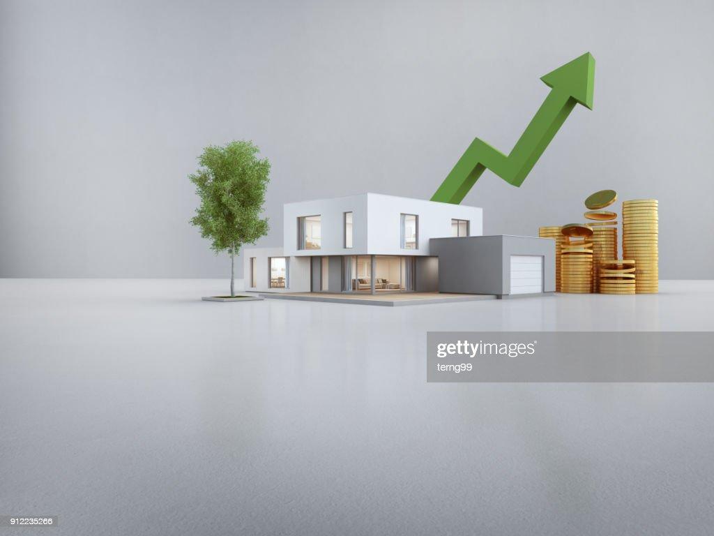Maison Moderne à étage Blanc Avec Fond De Mur En Béton Vide Dans Le Concept  De