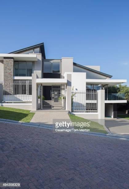 Modern house under blue sky