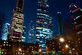 photos taken in the spring of 2019, Moscow, the photo shows skyscrapers, buildings